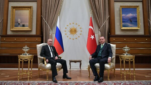 Predsednik RF Vladimir Putin i predsednik Turske Redžep Tajip Erdogan - Sputnik Srbija