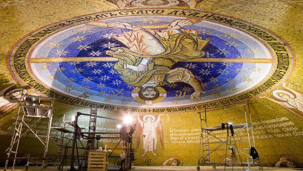 Završeni radovi na izradi mozaika na kupoli Hrama Svetog Save u Beogradu - Sputnik Srbija