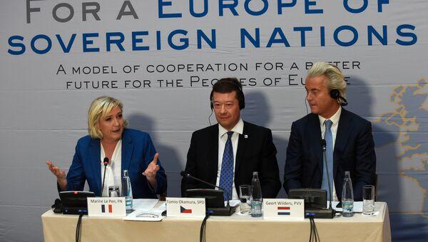 Mari le Pen, Tomio Okamura i Gert Vilders - Sputnik Srbija