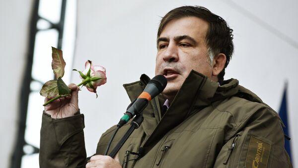 Бивши председник Грузије Михаил Сакашвили на митингу у Кијеву - Sputnik Србија
