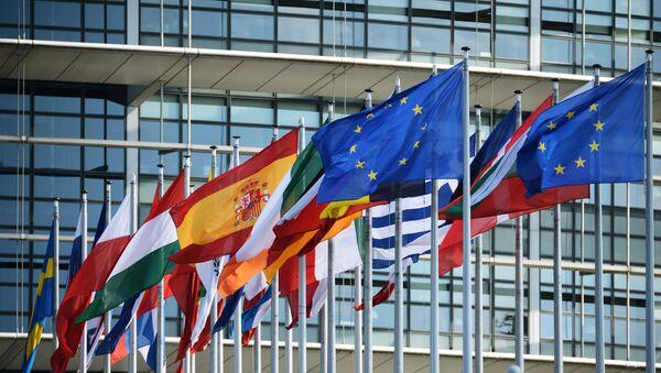 Zastave ispred zgrade Evropskog parlamenta u Strazburu. - Sputnik Srbija