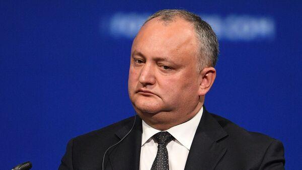 Predsednik Moldavije Igor Dodon na plenarnom zasedanju Međunarodnog ekonomskog foruma u Sankt Peterburgu 2017. - Sputnik Srbija