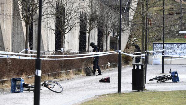 Švedska policija na mestu eksplozije u Stokholmu - Sputnik Srbija