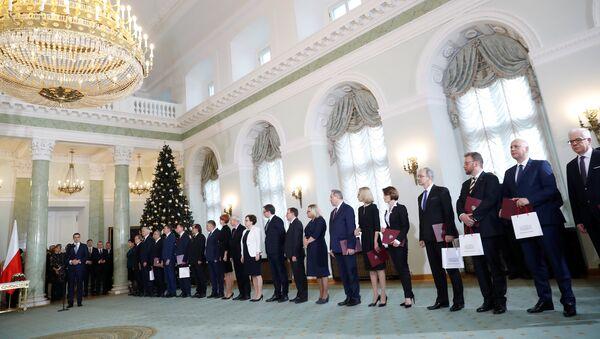 Пољски министар спољних послова Матеуш Моравјецки на церемонији полагања заклетве министара у председничкој палати у Варшави - Sputnik Србија