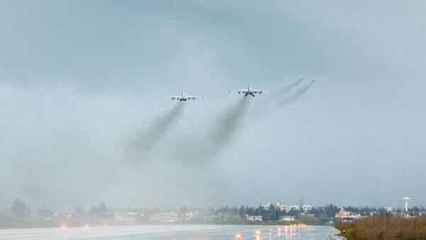 Avioni ruske avijacije poleću sa vazduhoplovne baze Hmejmim u Siriji - Sputnik Srbija