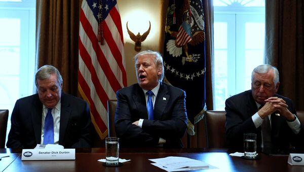Predsednik SAD Donald Tramp tokom sastanka u Beloj kući - Sputnik Srbija