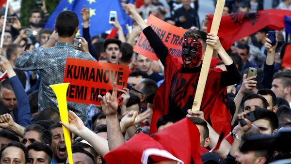 Albanci na protestu u Skoplju - arhivska fotografija - Sputnik Srbija