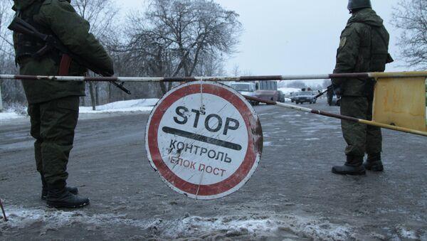 Kontrolni punkt u predgrađu Gorlovke u Donjeckoj oblasti - Sputnik Srbija