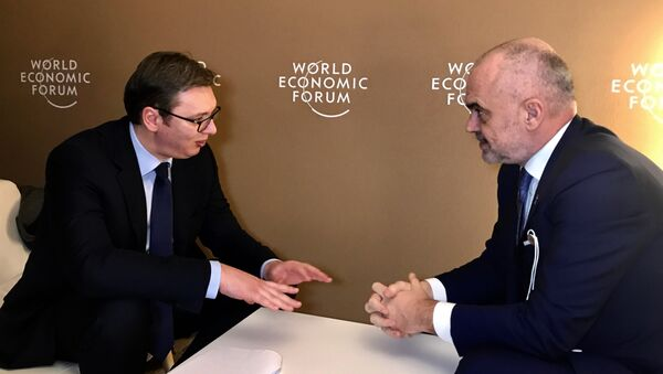 Aleksandar Vučić i Edi Rama na Davosu  - Sputnik Srbija