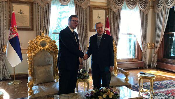 Aleksandar Vučić i Redžep Tajip Erdogan u predsedničkoj palati u Istanbulu - Sputnik Srbija