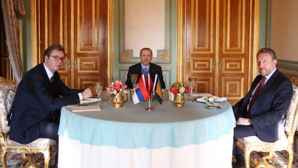 Aleksandar Vučić, Bakir Izetbegović i Redžep Tajip Erdogan u predsedničkoj palati u Istanbulu - Sputnik Srbija