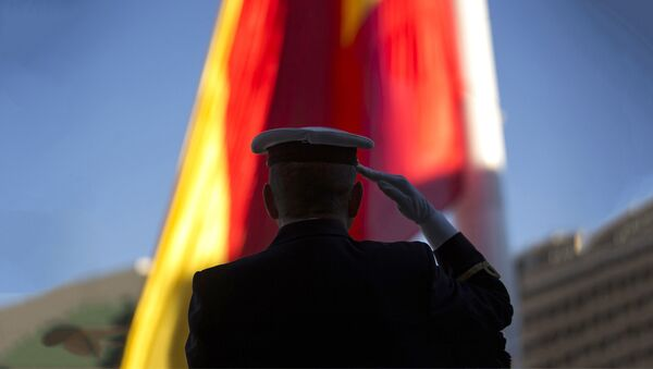 Oficir salutira ispred zastave - Sputnik Srbija