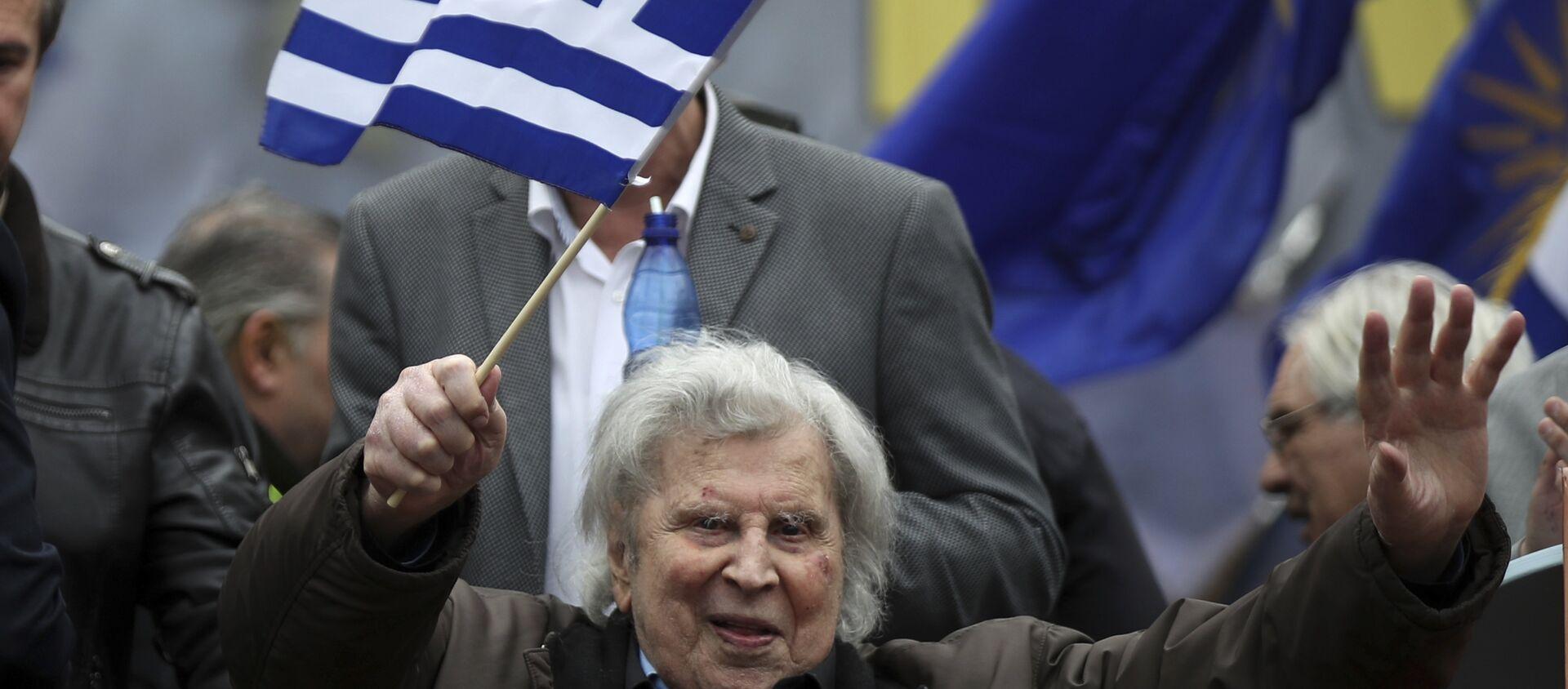 Mikis Teodorakis na protestu u Atini protiv imena Makedonija. - Sputnik Srbija, 1920, 04.02.2018