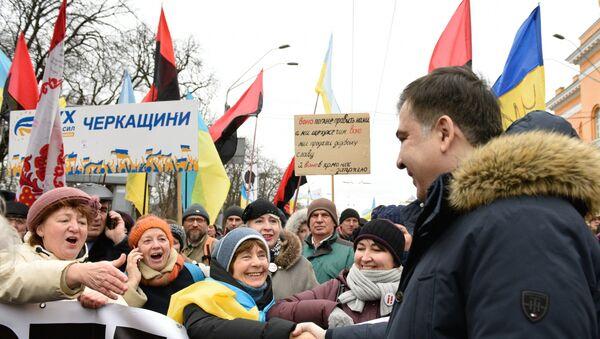Бивши гувернер Одеске области Михаил Сакашвили на митингу у Кијеву - Sputnik Србија