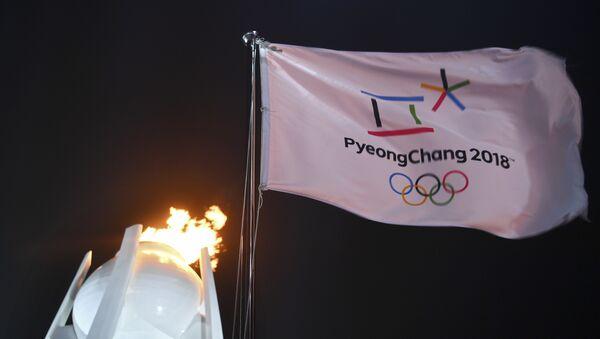Застава испред олимпијског пламена на церемонији отварања Зимских олимпијских игара у Пјонгчангу - Sputnik Србија