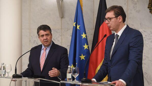 Predsedik Srbije Aleksandar Vučić i vicekancelar Nemačke Zigmer Gabrijel - Sputnik Srbija