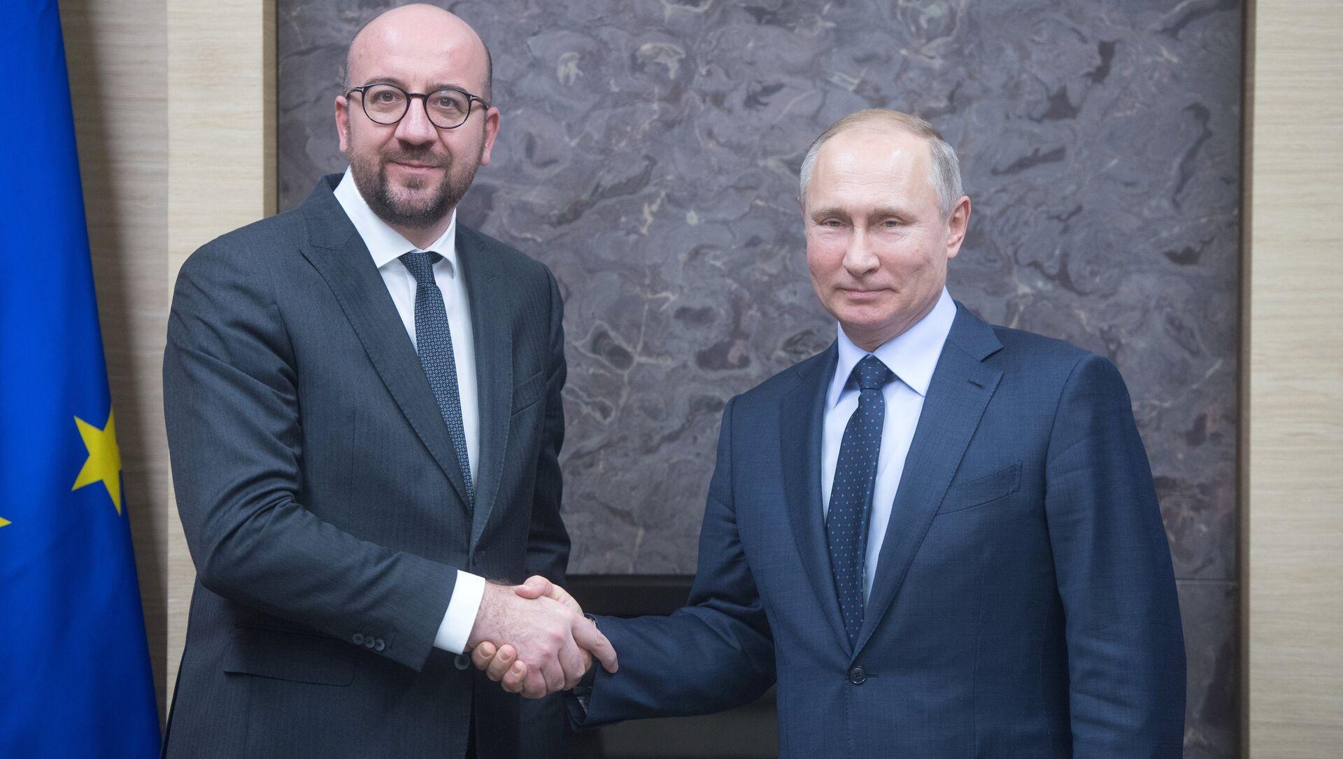 Шарл Мишел и Владимир Путин - Sputnik Србија, 1920, 07.06.2021