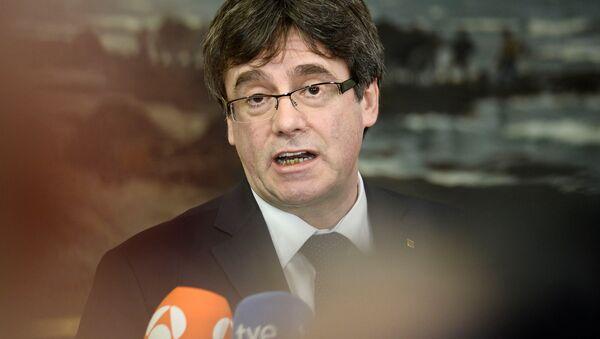 Бивши шеф каталонске владе Карлес Пуџдемон говори на конференцији за медије у Копенхагену - Sputnik Србија