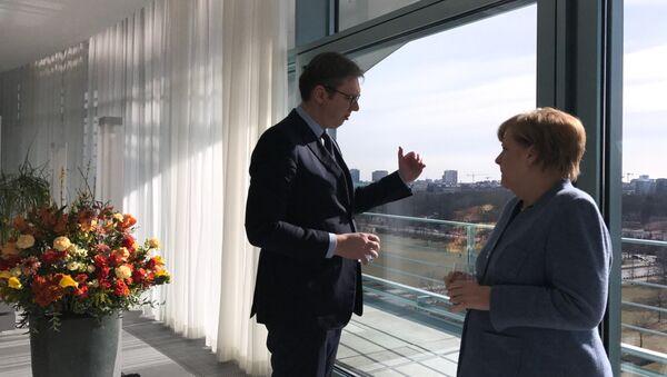 Predsednik Srbije Aleksandar Vučić i nemačka kancelarka Angela Merkel - Sputnik Srbija