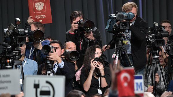 Novinari na pres-konferenciji Vladimira Putina - Sputnik Srbija
