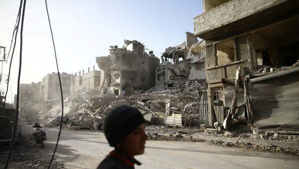 Zgrade oštećene u granatiranju u sirijskoj Istočnoj Guti - Sputnik Srbija