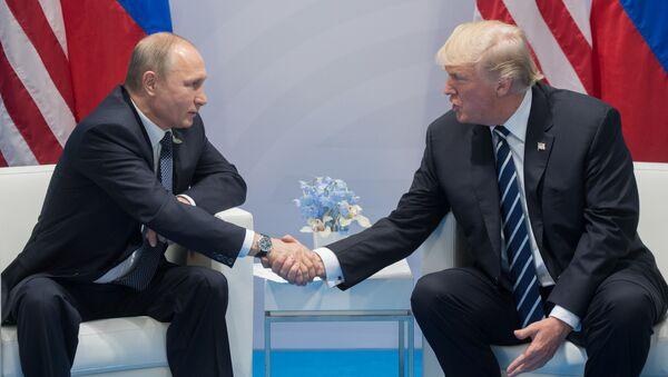Prezident RF Vladimir Putin i prezident SŠA Donalьd Tramp vo vremя besedы na polяh sammita liderov Gruppы dvadcati G20 v Gamburge - Sputnik Srbija