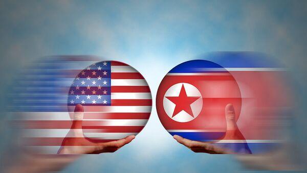 SAD i Sererna Koreja-zastave - Sputnik Srbija