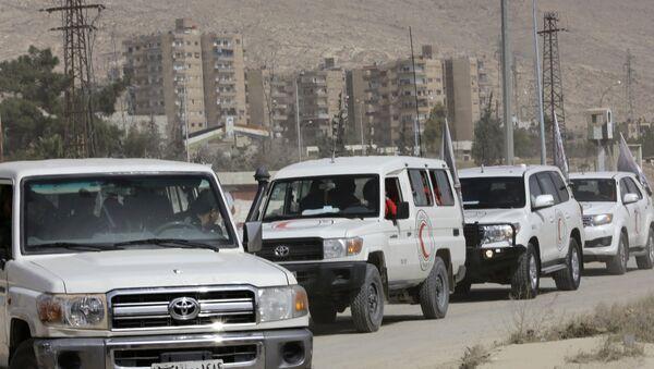 Возила Црвеног крста чекају на уласку у Харасту у Источној Гути - Sputnik Србија