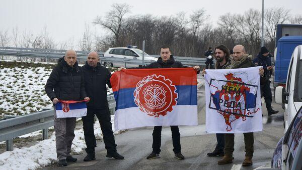 Blokada policije na putu za Kovilovo - Sputnik Srbija