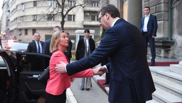 Federika Mogerini i Aleksandar Vučić u Beogradu. - Sputnik Srbija