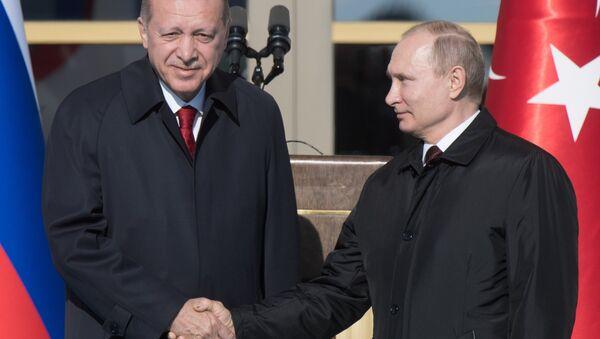 Руски председник Владимир Путин и турски председник Реџеп Тајип Ердоган у Анкари - Sputnik Србија