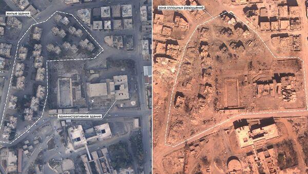 Snimci sirijske Rake koji je napravila ruska avijacija. Na fotografijama se vide razmere razaranja u bombardovanju koalicije na čelu sa SAD - Sputnik Srbija