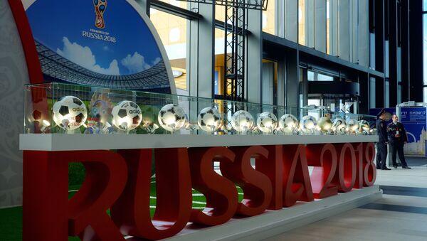 Штанд ФИФА светског првенства у фудбалу на Санкт Петербуршком економском форуму 2017. - Sputnik Србија