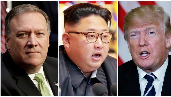 Мајк Помпео, Ким Џон Ун и Доналд Трамп - Sputnik Србија