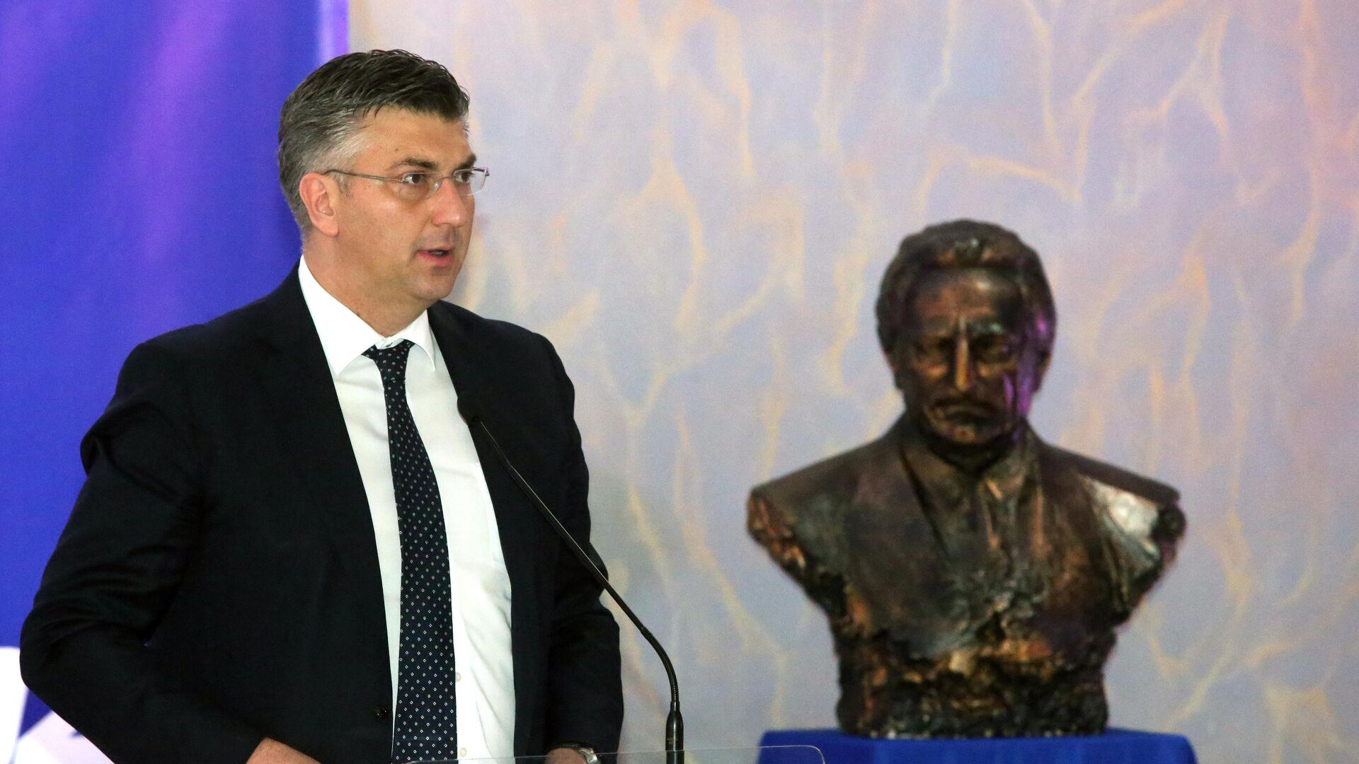 Премијер Андреј Пленковић поред бисте Фрања Туђмана - Sputnik Србија, 1920, 08.08.2021