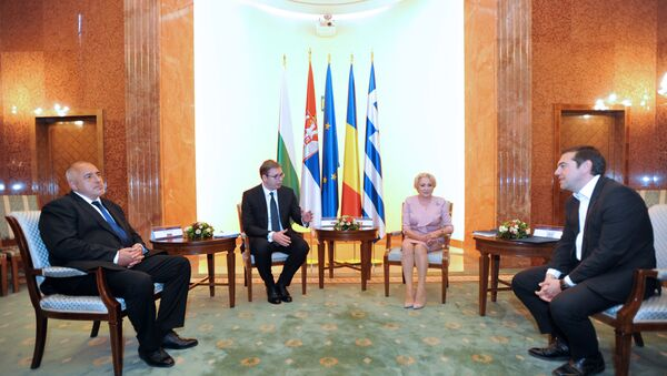Predsednik Vlade Bugarske Bojko Borisov, predsednik Srbije Aleksandar VUčić, predsednica Vlade Rumunije Vjorika Danćila i premijer grčke Aleksis Cipras - Sputnik Srbija