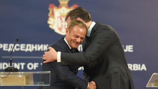 Donald Tusk i Aleksandar Vučić na konferenciji za novinare u Beogradu - Sputnik Srbija