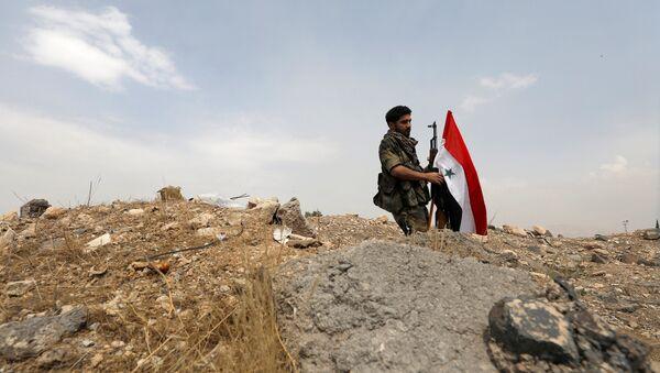 Pripadnik sirijske vojske podiže zastavu u blizini Damaska - Sputnik Srbija