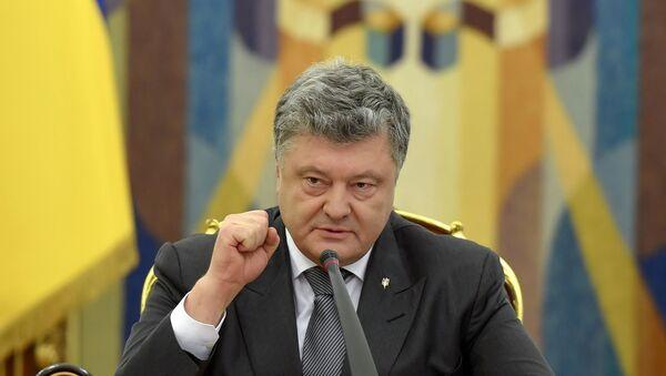 Predsednik Ukrajine Petro Porošenko govori na zasedanju Saveta za bezbednost i odbranu Ukrajine - Sputnik Srbija