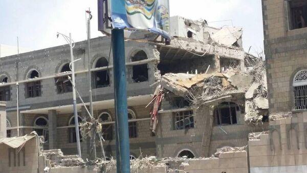Predsednička palata u Sani, Jemen posle bombardovanja. - Sputnik Srbija
