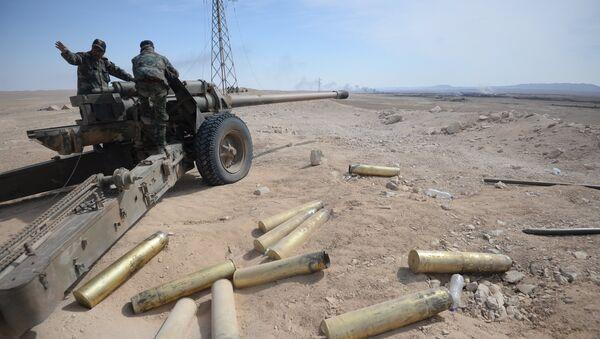 Припадници сиријске војске током офанзиве на град Ел Карјатејн - Sputnik Србија