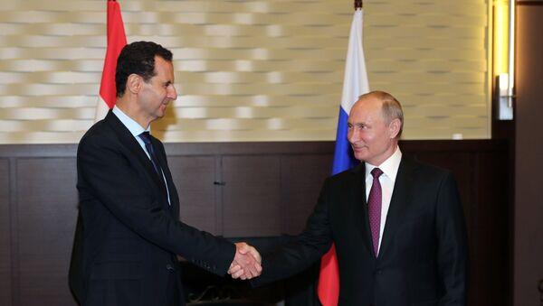 Predsednik Rusije Vladimir Putin na sastanku sa sirijskim predsednikom Bašarom Asadom u Sočiju - Sputnik Srbija