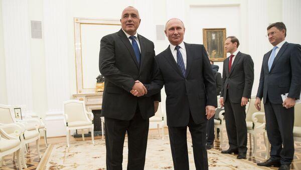 Премијер Бугарске Бојко Борисов и председник Русије Владимир Путин на састанку у Кремљу - Sputnik Србија