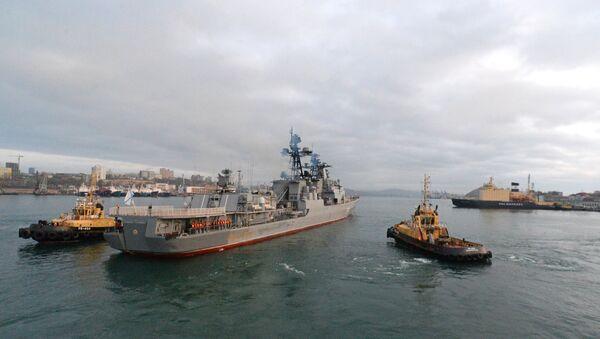 Brod Pacifičke flote Rusije Admiral Tribuc izlazi iz luke Vladivostok - Sputnik Srbija