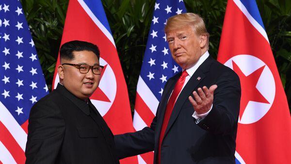 Predsednik SAD Donald Tramp i predsednik Severne Koreje Kim Džong UN u Singapuru - Sputnik Srbija