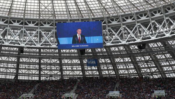 Председник Русије Владимир Путин током говора на отварању Светског првенства у фудбалу на стадиону Лужњики у Москви - Sputnik Србија