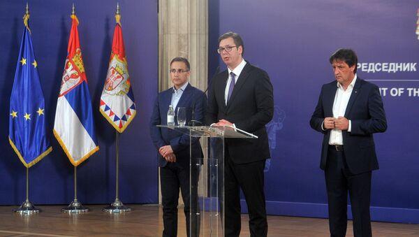 Aleksandar Vučić, Nebojša Stefanović i Bratislav Gašić - Sputnik Srbija