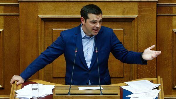 Алексис Ципрас у Парламенту Грчке током расправе о смени владе и споразума о имену Македоније. - Sputnik Србија