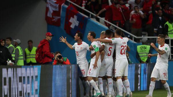 Slavlje švajcarskih reprezentativaca na utakmici protiv Srbije - Sputnik Srbija