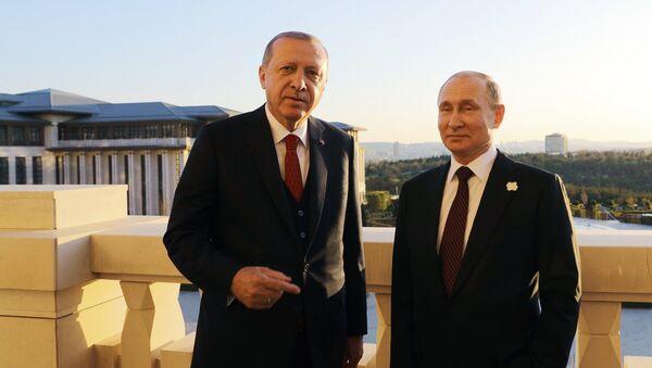 Председници Турске и Русије, Реџеп Тајип Ердоган и Владимир Путин на састанку у Анкари - Sputnik Србија